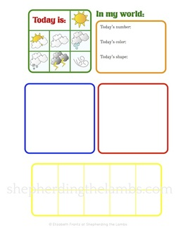 Early Learner Daily Notebook ~ a second page for use with lapbook elements.